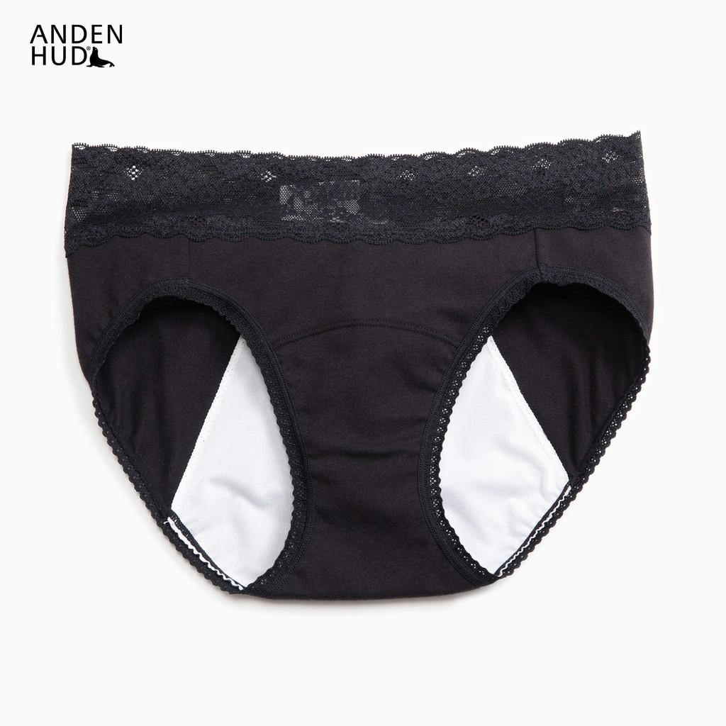 【Anden Hud】超熟睡.蕾絲中腰生理褲(黑色) 台灣製