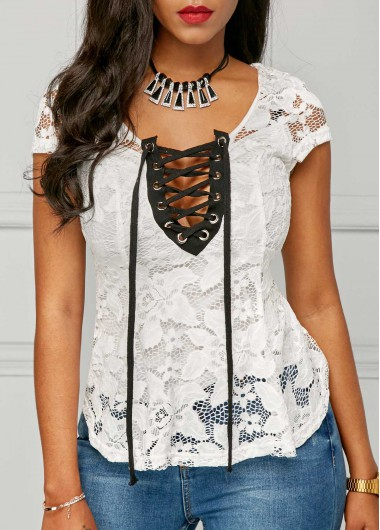 White Lace Up Cap Sleeve Blouse