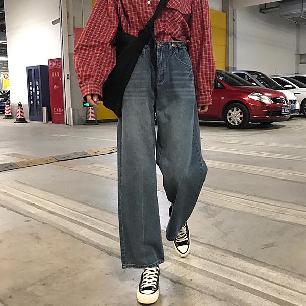 牛仔寬管褲 夏季韓版女裝寬鬆顯瘦闊腿褲高腰直筒牛仔褲復古百搭休閒學生長褲 618狂歡