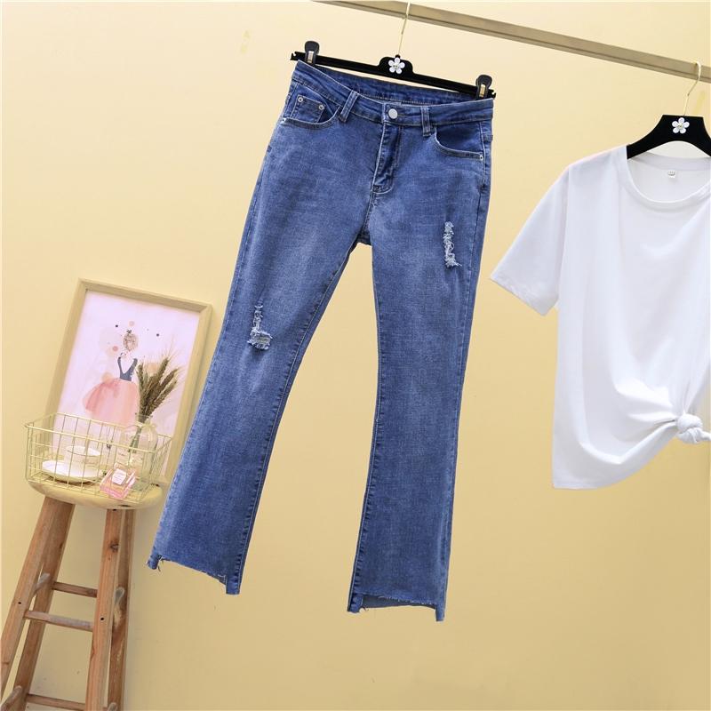 M-4XL大尺碼衣著 2020夏季新款胖妹妹破洞顯瘦喇叭褲子牛仔褲女百搭高腰彈力