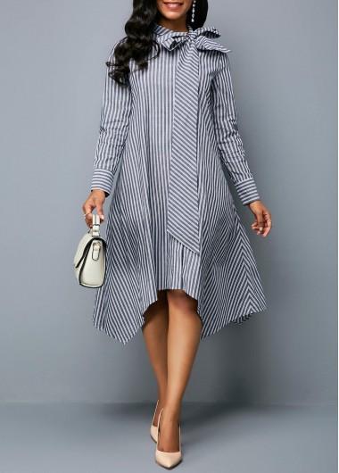 Bowknot Neck Asymmetric Hem Stripe Print Tunic Dress