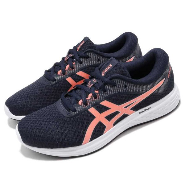 ASICS 【1012A484-400】亞瑟士 Patriot11 慢跑鞋 藍桃橘 透氣網布 女生