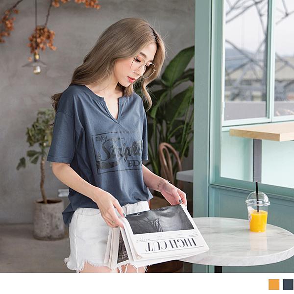 《AB6179-》高含棉英文字印花小V領寬鬆短袖上衣 OB嚴選
