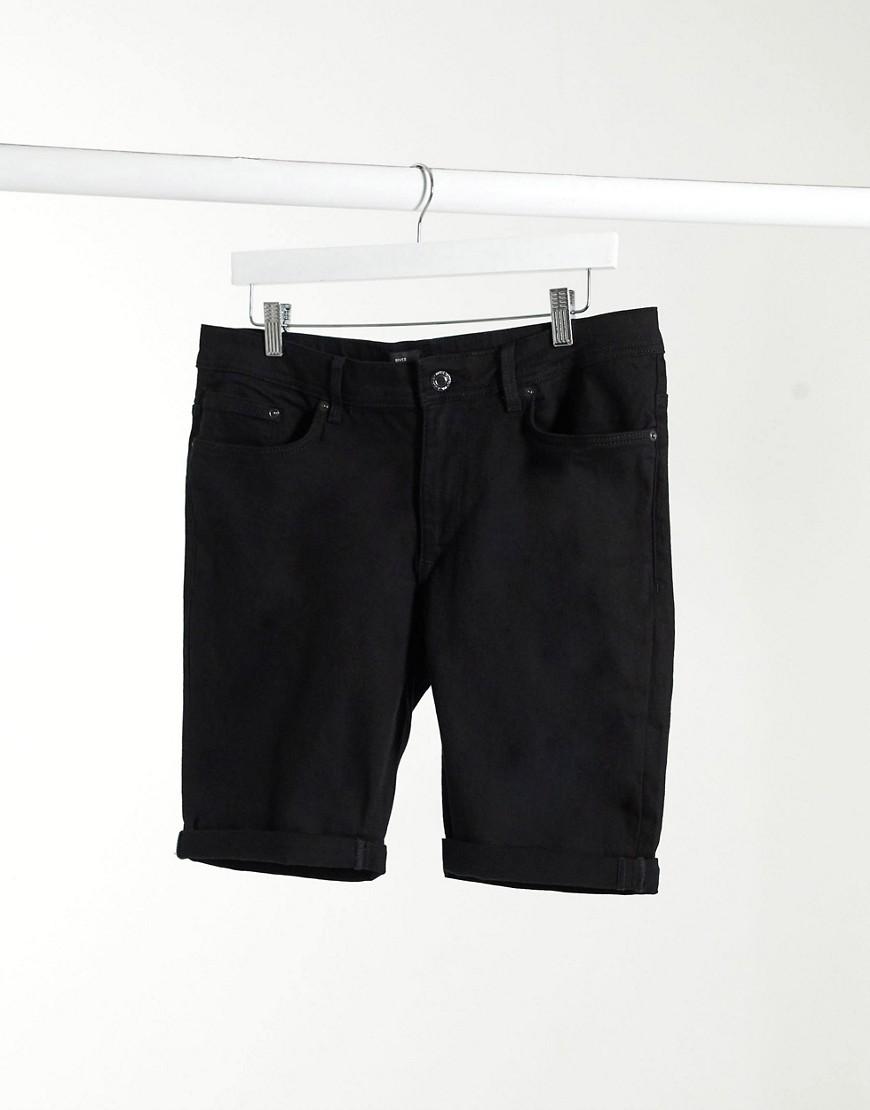 River Island skinny denim shorts in black