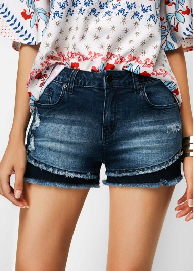 Frayed Hem Pocket Denim Blue Shorts