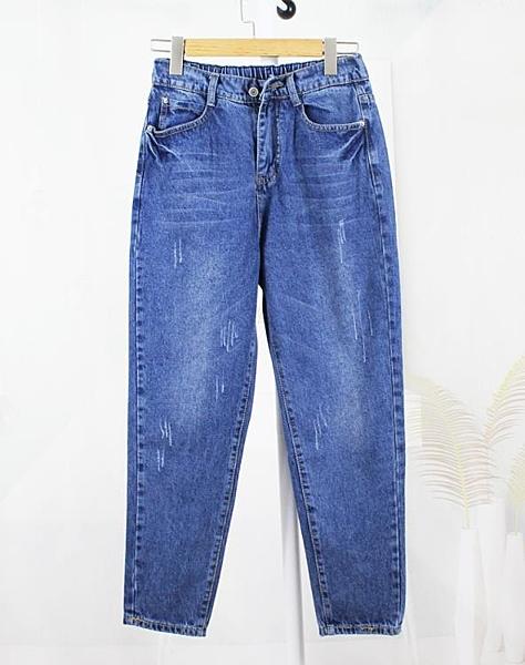 明星同款大碼牛仔褲女胖mm寬鬆顯瘦九分褲200斤哈倫褲2020夏新款 西城故事