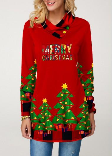 Christmas Long Sleeve Plaid Print T Shirt
