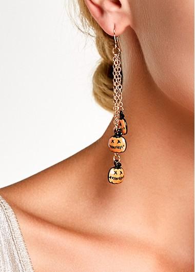 Halloween Chain Tassel Pumpkin Pendant Earrings