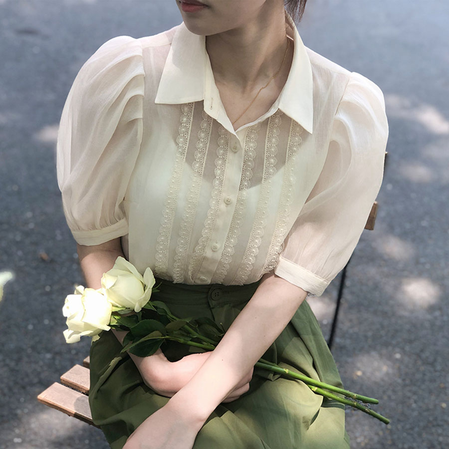 【missy shop】氣質靈動公主袖襯衫-3353