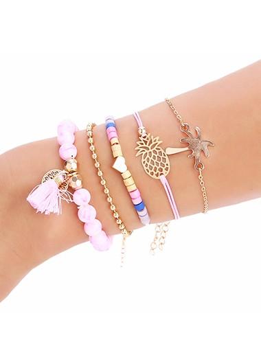 5pcs Pineapple and Tassel Detail Pink Bead Bracelets