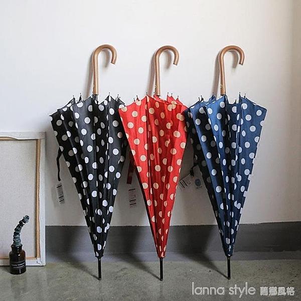 韓國ins風12骨超抗風復古波點純色長柄傘自動晴雨學生傘女 新品全館85折 YTL