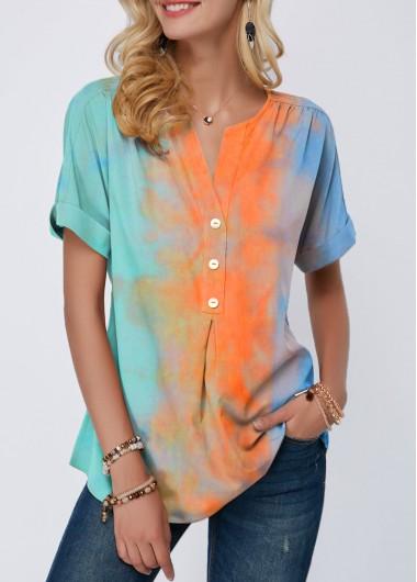 Tie Dye Print Split Neck Button Detail T Shirt