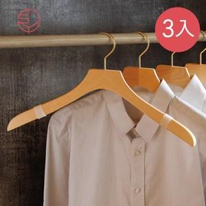 【日本霜山】天然木製防滑防落衣架-男用款-3入單一規格