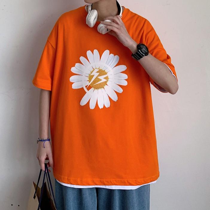 夏季小雛菊印花短袖t恤 大碼寬鬆情侶短T 棉質落肩短袖上衣【逆主流】