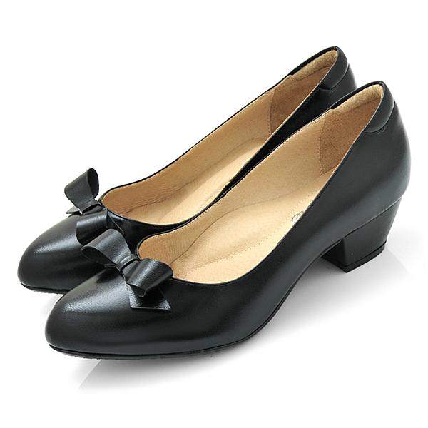 karine(MIT台灣製)全真皮尖頭蝴蝶結粗低跟鞋-黑色