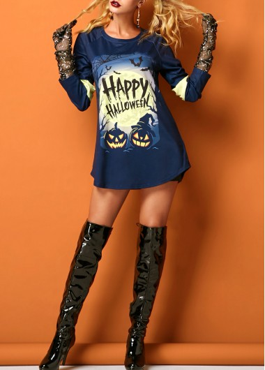 Halloween Curved Hem Pumpkin Lamp Print T Shirt