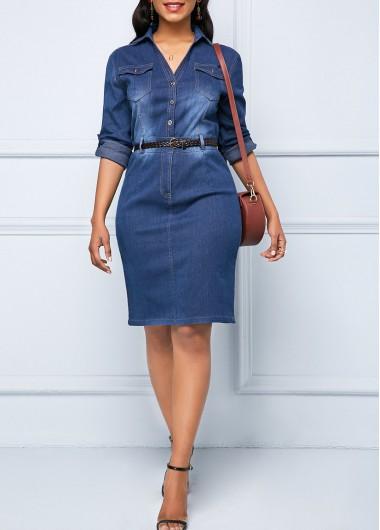 Button Up Denim Roll Tab Sleeve Shirt Dress