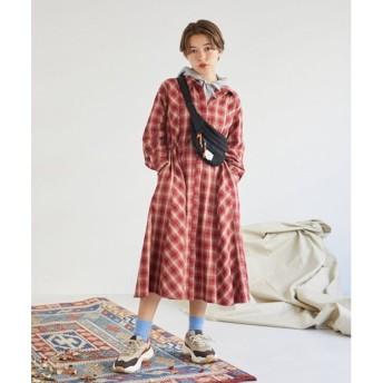 エンスモール ENsMOL. AON 2WAYシャツロングドレス (レッド)
