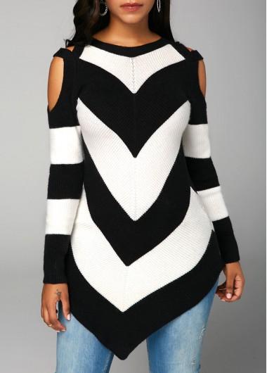 Chevron Pattern Asymmetric Hem Cold Shoulder Sweater