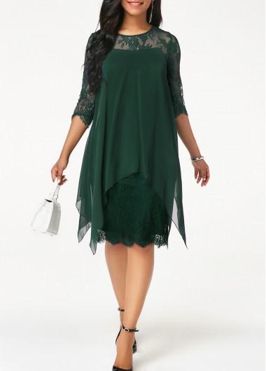 Round Neck Dark Green Chiffon Overlay Lace Dress