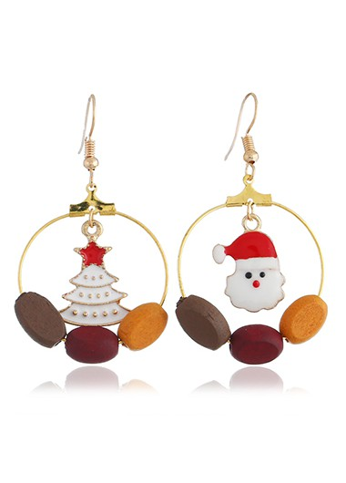 Christmas Tree and Santa Pendant Gold Metal Earrings