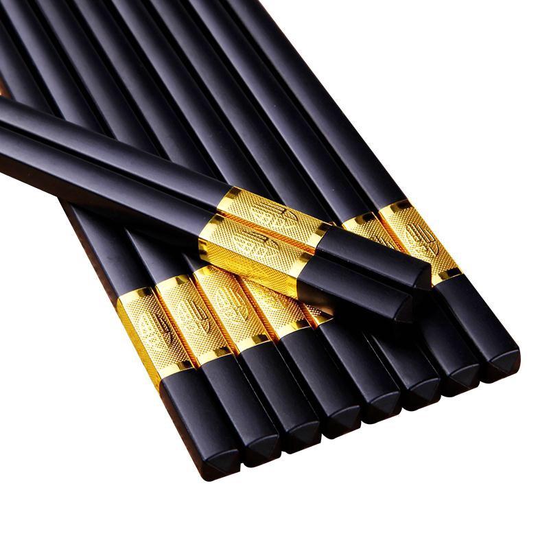 家用筷子 10雙裝家用高級高檔餐具防黴防滑耐高溫酒店筷子