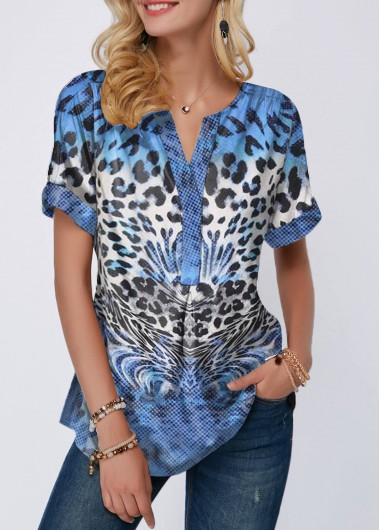 Leopard Print Curved Hem Split Neck Blouse