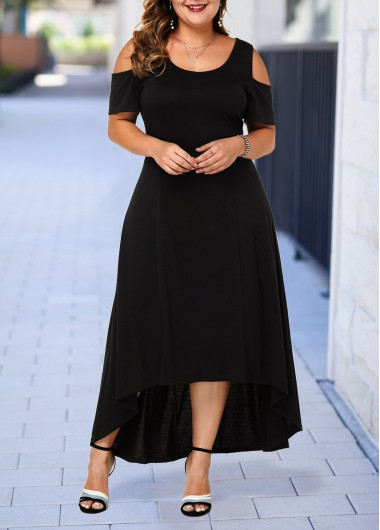 Black Cold Shoulder Plus Size High Low Dress