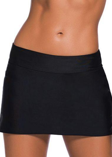 Low Waist Black Mini Swimwear Pantskirt