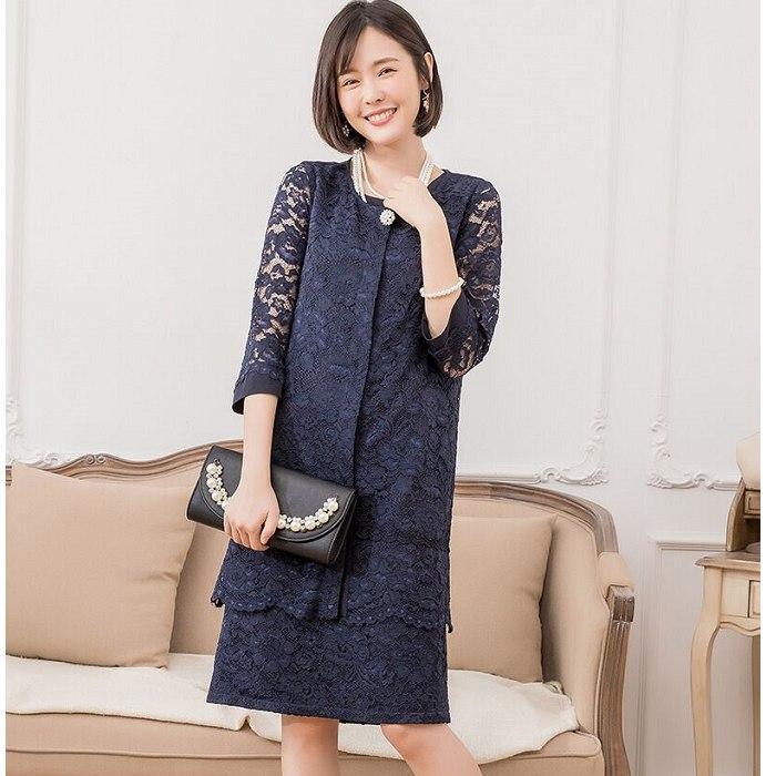 兩件套成熟蕾絲套裝(七分袖蕾絲長罩衫+蕾絲無袖洋裝)[88312-S]灰姑娘