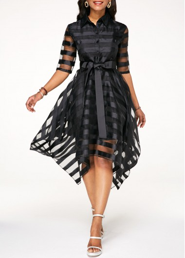 Black Half Sleeve Belted Sheer Striped Dress
