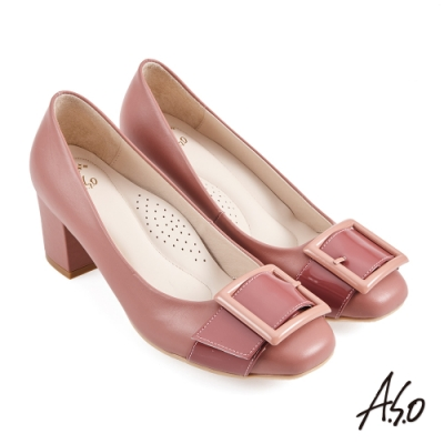 A.S.O 健步通勤烤漆釦條帶方頭中跟鞋-粉紅
