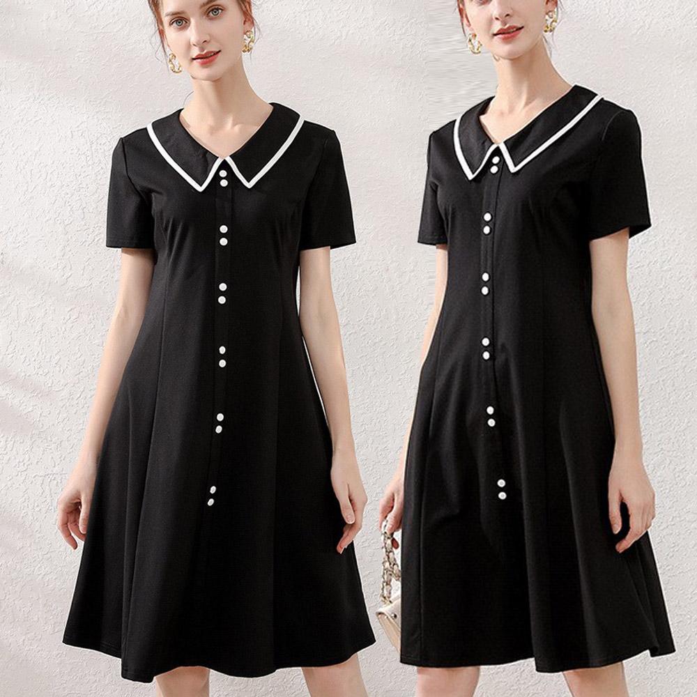 【麗質達人】PM73300黑色短袖洋裝(L-5XL)
