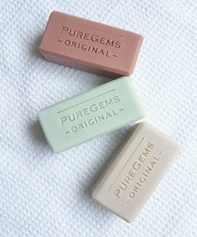 低調紫 溫和藍 喜氣紅 礦泥 手工小皂 單款緞帶吊卡 及三款禮盒組