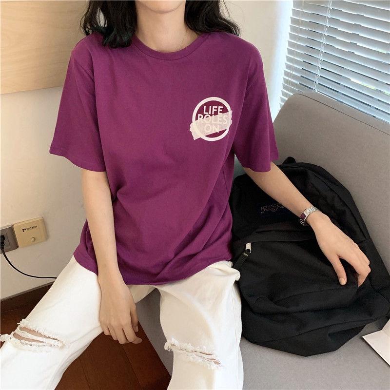 [免運]短袖T恤 153990T恤女夏紫色印花寬鬆百搭圓領短袖上衣