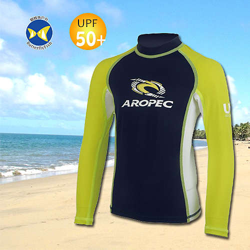 台灣製 Aropec UPF50+ 耀眼檸檬黃 兒童 長袖 水母衣 防曬衣 長袖泳衣 SS5K87C