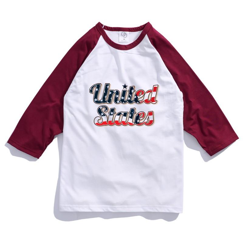 ONE DAY 台灣製 157C74 棒球七分T 寬鬆衣服 短T 短袖衣服 衣服 T恤 寬鬆短袖 短袖T恤 落肩短T