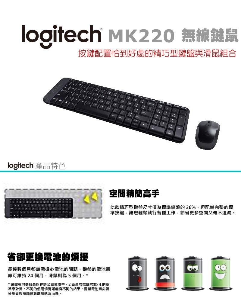【宏華資訊廣場】Logitech羅技-MK220 無線滑鼠鍵盤組