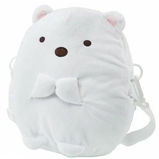 小禮堂 角落生物 斜背包 造型背包 肩背包 側背包 行李拉桿包 絨毛玩偶 (白 北極熊) 4949827-80355