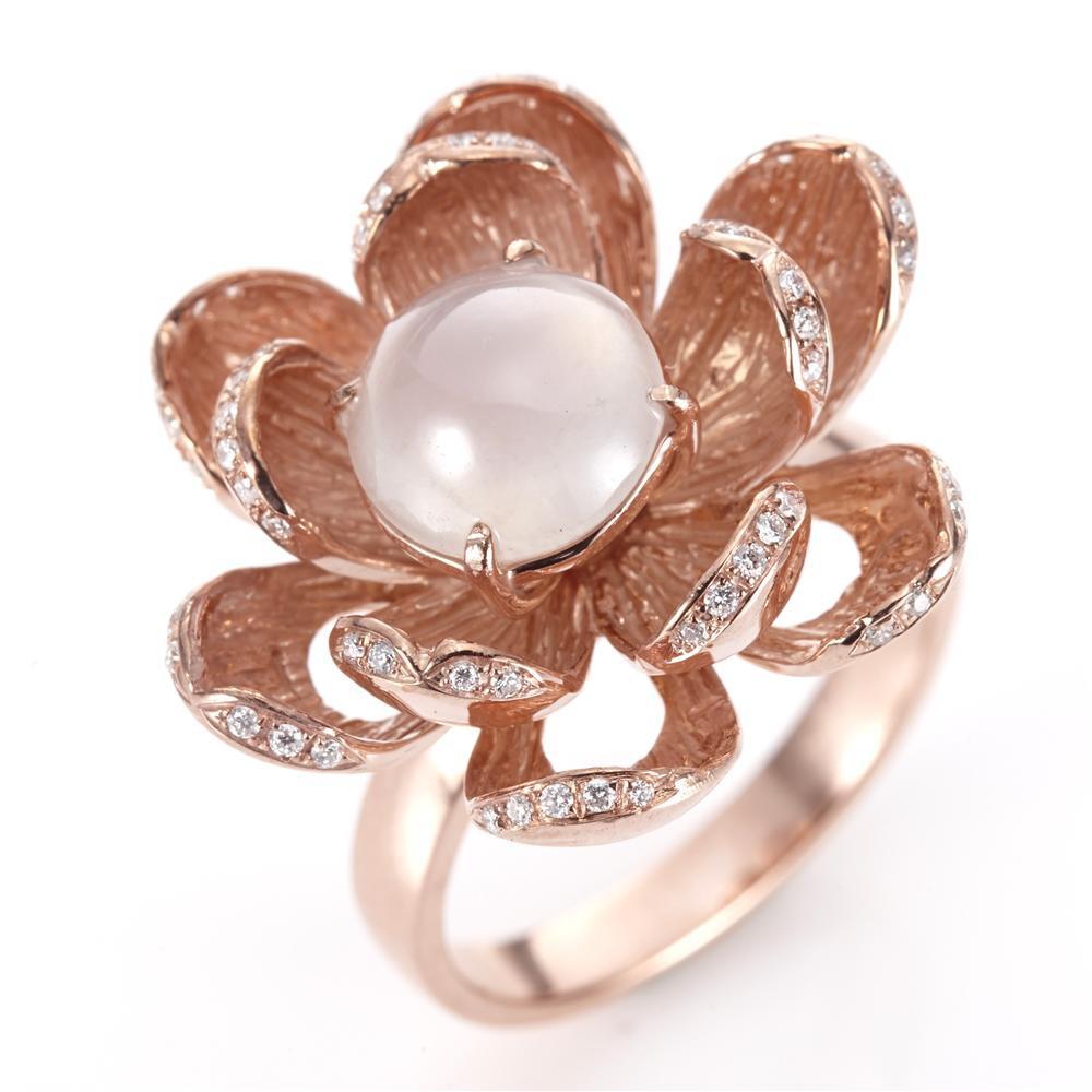 Dolly 緬甸 冰種白翡 14K金鑽石戒指(009)