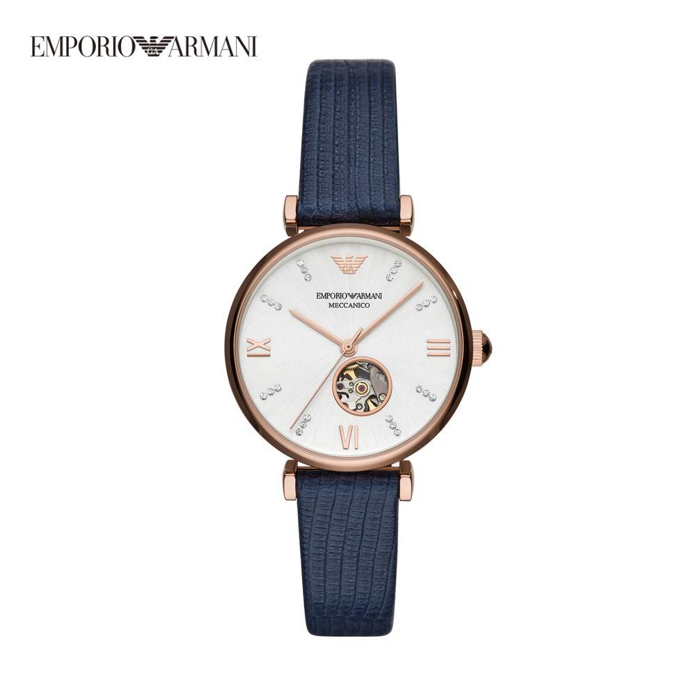 Emporio Armani Gianni T-bar 雨果的齒輪女錶 玫瑰金X線條藍皮革錶帶 34mm AR60020