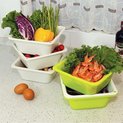 創意達人水瀝方輕巧五穀蔬果瀝水盒-3入