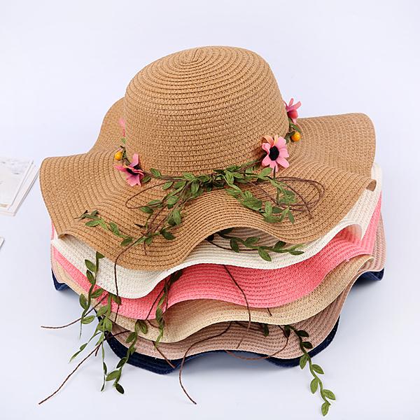 帽子女草帽防曬大檐遮陽帽漁夫帽沙灘帽海邊遮臉百搭太陽帽夏 - 古梵希