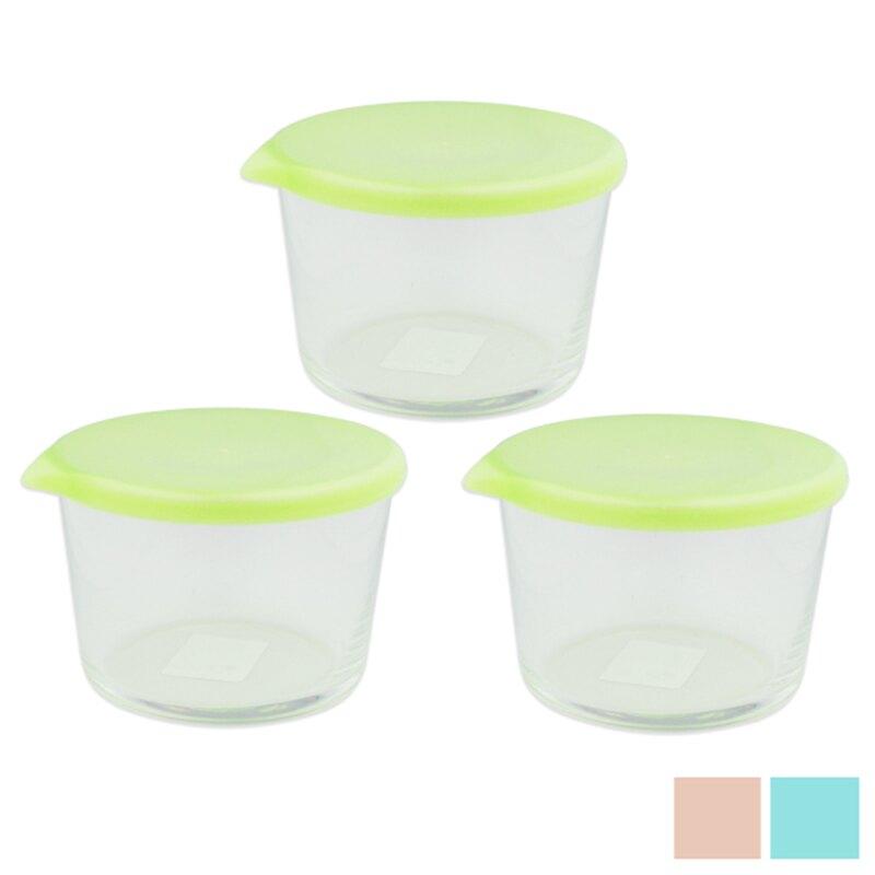 【晨光】日本製 石塜硝子 3入彩色玻璃保鮮密封罐 同花色裝 3色-(842756)