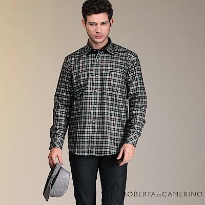 ROBERTA諾貝達 進口素材 台灣製 個性格紋長袖襯衫 黑綠
