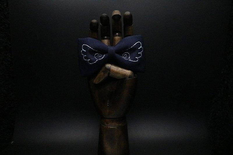 深蓝色翅膀刺绣领结英伦风设计感蝴蝶结