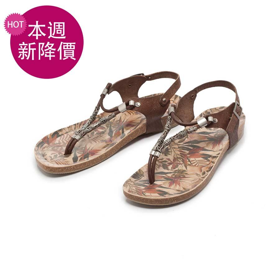 fair lady porronet 串珠彩繪夾腳兩穿涼拖鞋 摩卡 (122220)