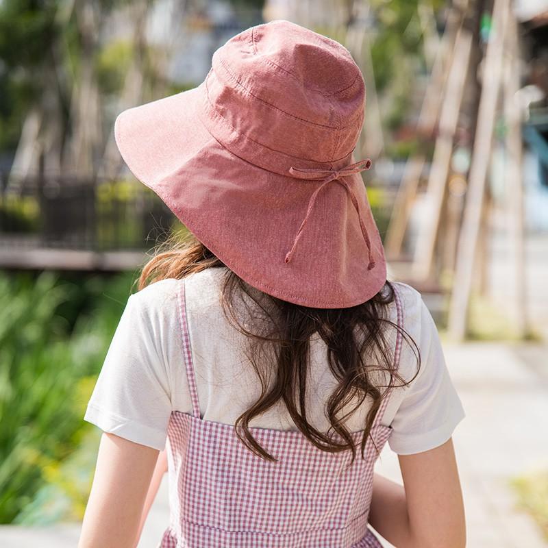 【瑟夫貝爾】淑女素色遮陽布帽 大蝴蝶防曬盆帽 純色棉質雙面戴棉帽 戶外 出遊 實用 抗UV女帽 防紫外線 遮陽大帽沿盆帽