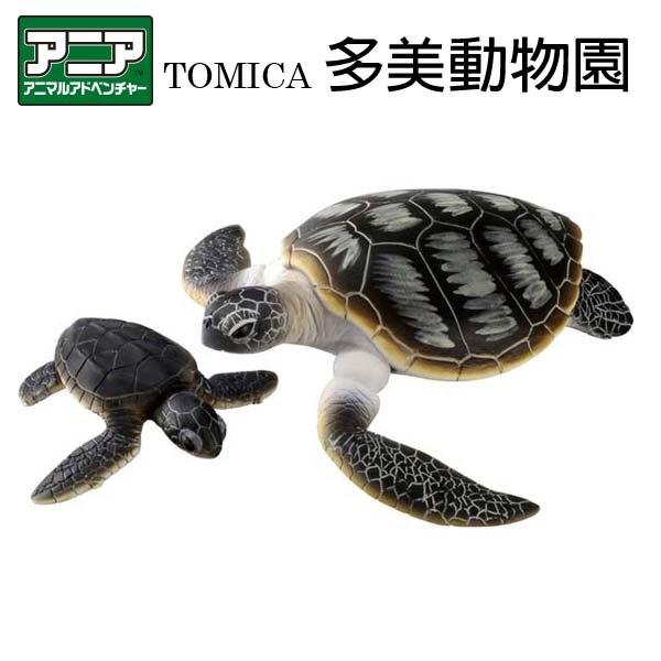 【Fun心玩】AN13761 麗嬰 日本 正版 多美 AS-20 綠蠵龜 探索動物 多美動物 烏龜 可動 飄浮 動物
