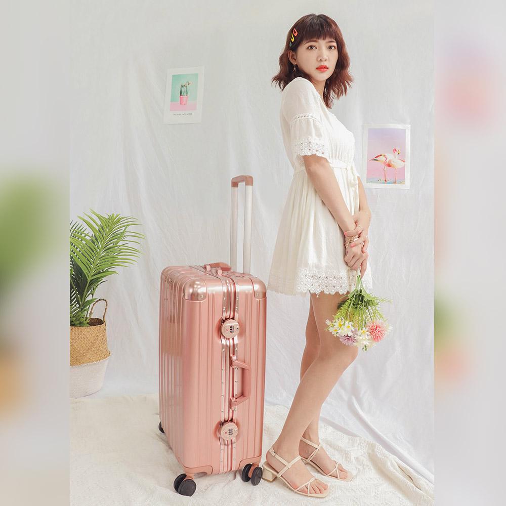 奧莉薇閣 26吋行李箱 PC金屬鋁框旅行箱 無與倫比美麗